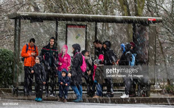 General view of members of the public waiting at bus stop during a snowfall at Alexandra Palace London as people across the country are braced for...
