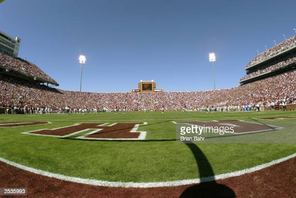 General view of Memorial Stadium during the game between the University of California Los Angeles Bruins and the University of Oklahoma Sooners on...