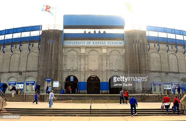 A general view of Memorial Stadium the University of Kansas Football Stadium during the game betweem the West Virginia Mountaineers and the Kansas...