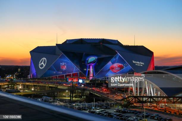 General View of Mercedes Benz Stadium site of Super Bowl LIII at sunset during Super Bowl LIII week on January 30 2019 at the Georgia World Congress...