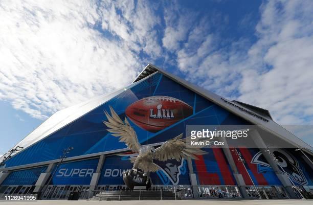 A general view of MercedesBenz Stadium ahead of Super Bowl LIII on February 2 2019 in Atlanta Georgia