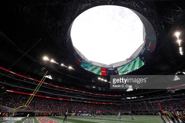 A general view of MercedesBenz Stadium during the game between the Atlanta Falcons and the Dallas Cowboys on November 18 2018 in Atlanta Georgia