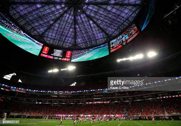 A general view of MercedesBenz Stadium during the game between the Atlanta Falcons and the Arizona Cardinals on August 26 2017 in Atlanta Georgia