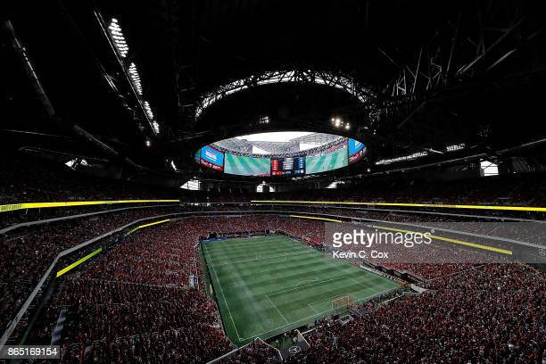 A general view of MercedesBenz Stadium during the match between the Atlanta United and the Toronto FC on October 22 2017 in Atlanta Georgia