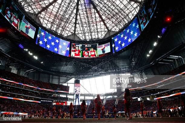 A general view of MercedesBenz Stadium during the National Anthem prior to the game between the Atlanta Falcons and the Arizona Cardinals on December...
