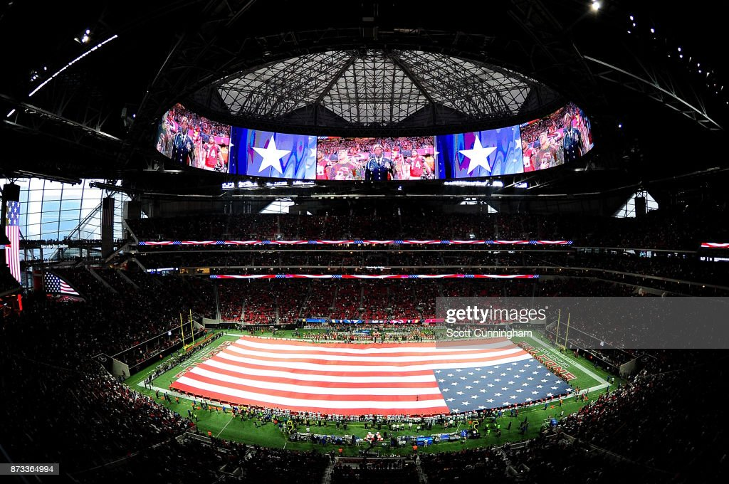 A general view of Mercedes-Benz Stadium during the national anthem prior to the game between the Atlanta Falcons and the Dallas Cowboys on November 12, 2017 in Atlanta, Georgia.