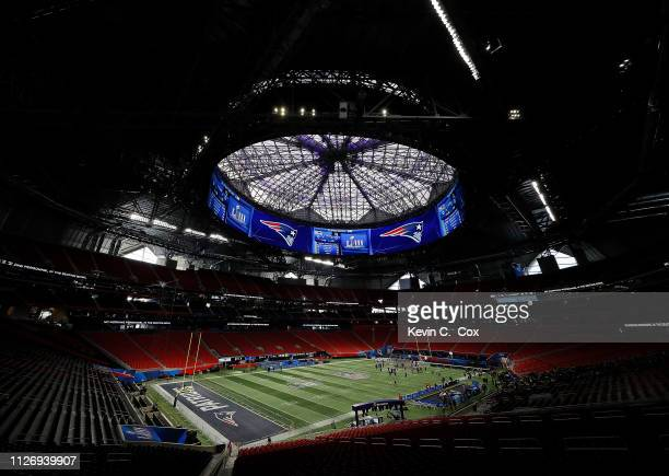 A general view of MercedesBenz Stadium during the New England Patriots Super Bowl LIII practice on February 02 2019 in Atlanta Georgia