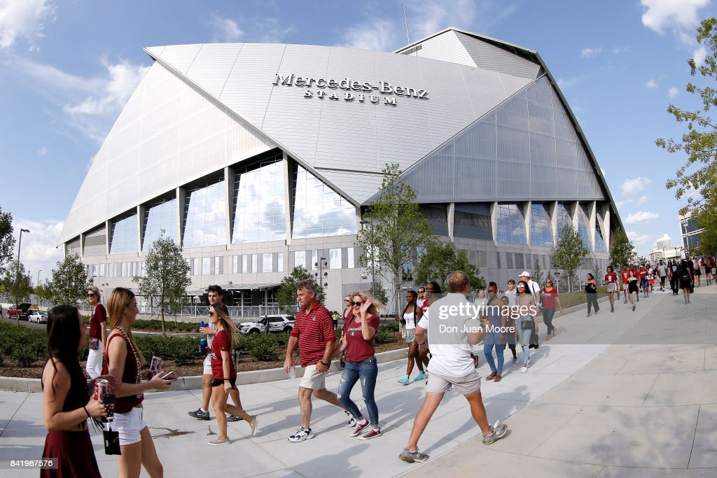 A general view of Mercedes-Benz Stadium outside before the #1 ranked Alabama Crimson Tide plays the #3 ranked Florida State Seminoles at the Chick-fil-A Kickoff Game at Mercedes-Benz Stadium on September 2, 2017 in Atlanta, Georgia.