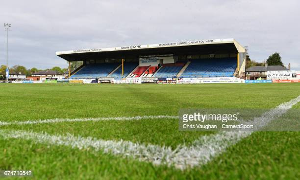 General view of Merseyrail Community Stadium, home of Southport prior to the Vanarama National League match between Southport and Lincoln City at...