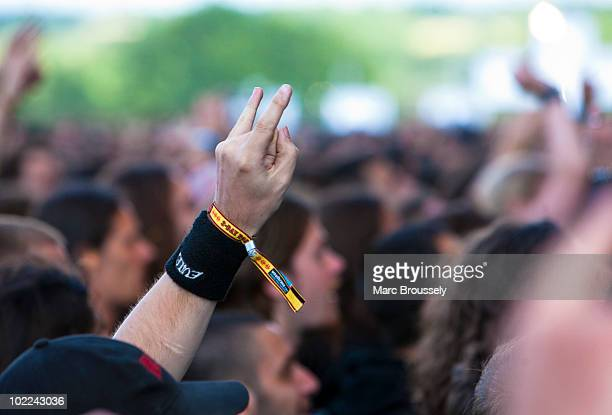 General view of metal fans attending Hellfest Festival on June 19 2010 in Clisson France