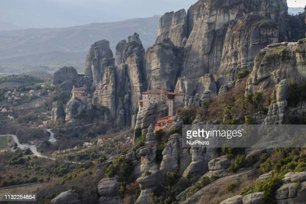General view of Meteora Monasteries In Greece on 8 March 2019 Meteora is a setting of overwhelming rock formations located in central GreeceIt is a...