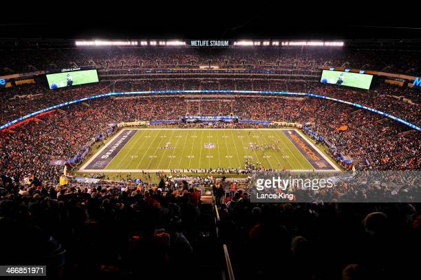 A general view of MetLife Stadium during Super Bowl XLVIII between the Seattle Seahawks and the Denver Broncos on February 2 2014 in East Rutherford...