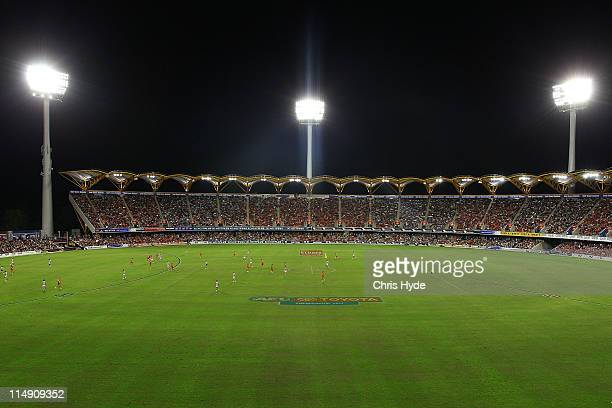General view of Metricon Stadium during the round 10 AFL match between the Gold Coast Suns and Geelong Cats at Metricon Stadium on May 28 2011 in...