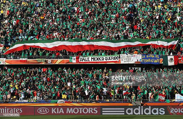 General view of Mexico fans as they enjoy the atmosphere ahead of the 2010 FIFA World Cup South Africa Group A match between Mexico and Uruguay at...