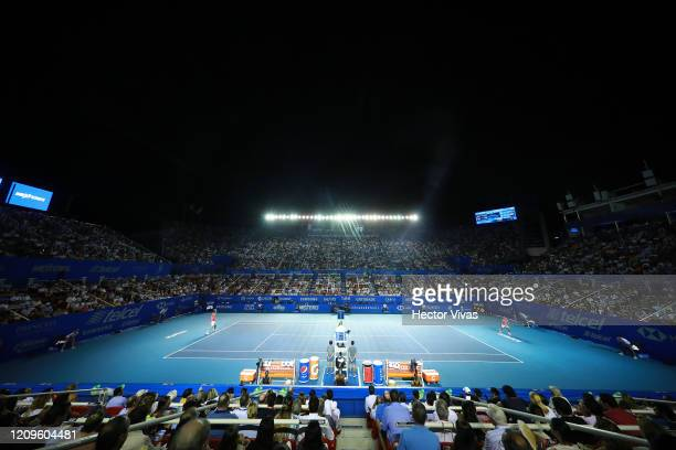 A general view of Mextenis Stadium during the singles match between Rafael Nadal of Spain and Taylor Fritz of the United States on Day 6 of the ATP...