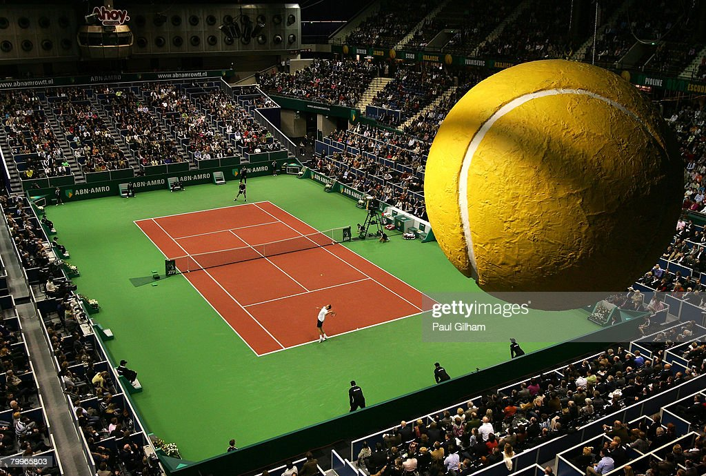 A general view of Michael Llodra of France serving against Robin Soderling of Sweden during the singles final of the ATP 35th ABN AMRO World Tennis Tournament at the Ahoy Centre Rotterdam on February 24, 2008 in Rotterdam, Netherlands.