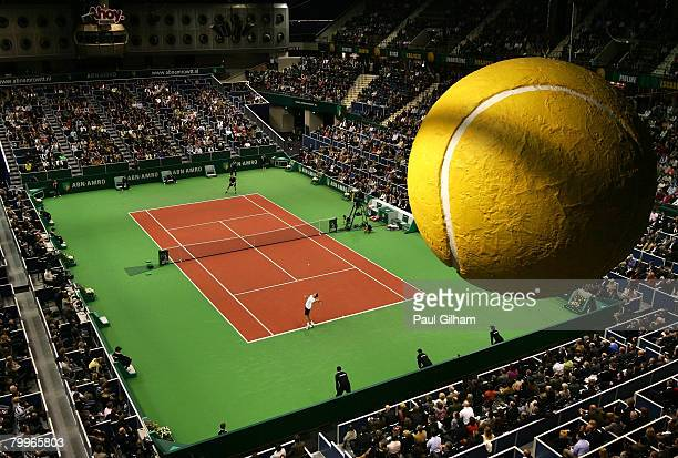 General view of Michael Llodra of France serving against Robin Soderling of Sweden during the singles final of the ATP 35th ABN AMRO World Tennis...