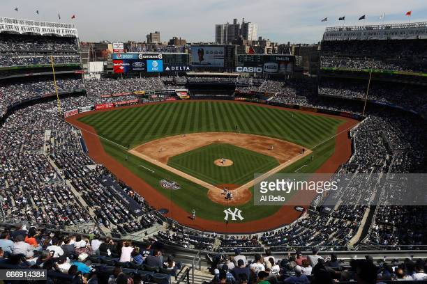 General View of Michael Pineda of the New York Yankees pitching against the Tampa Bay Rays during the New York Yankees home Opening game at Yankee...