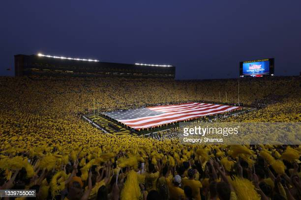 General view of Michigan Stadium before the game between the Washington Huskies and the Michigan Wolverines on September 11, 2021 in Ann Arbor,...
