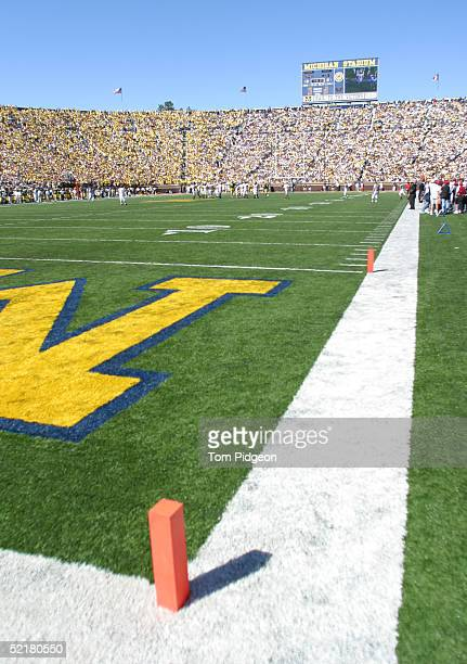 General view of Michigan Stadium during the game between the University of Michigan Wolverines and the San Diego State University Aztecs on September...