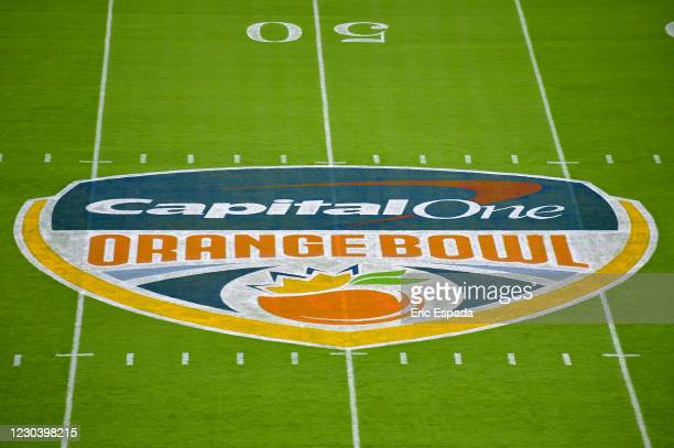 General view of midfield at Hard Rock Stadium before the Orange Bowl college football game between the North Carolina Tar Heels and the Texas A&M...
