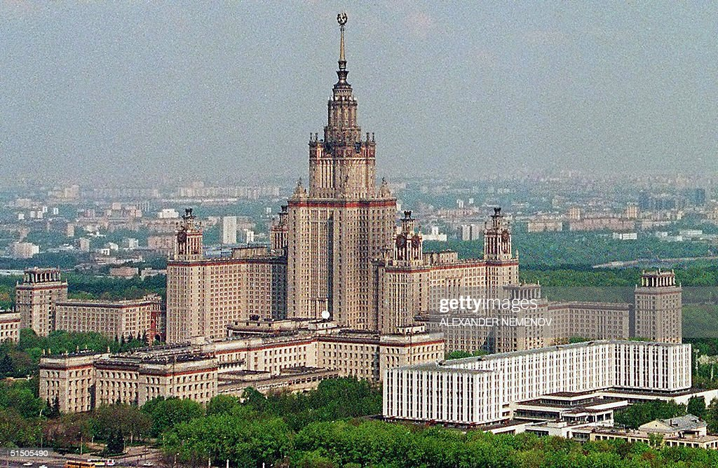 A general view of Mikhail Lomonosov Moscow State University, taken from a helicopter in May 1995. Lomonosov University if one of seven Stalin-era towers built in Moscow after World War II.