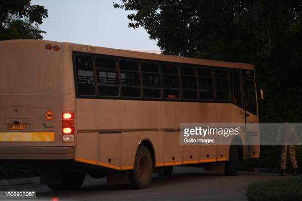 A general view of military busses and trucks at the Ranch Hotel on March 12 2020 in Polokwane South Africa It is reported that members of the defence...