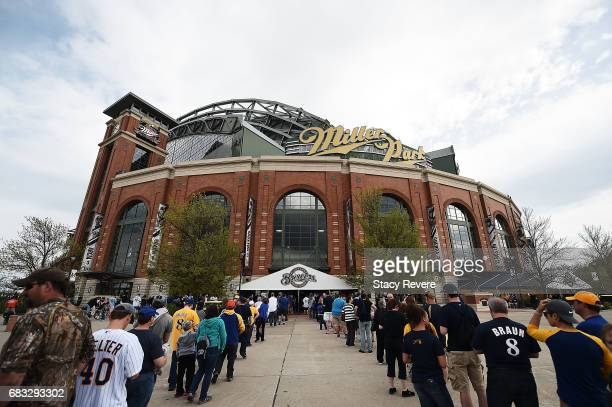 A general view of Miller Park as fans wait in line to get in for a game between the Milwaukee Brewers and the New York Mets on May 13 2017 in...