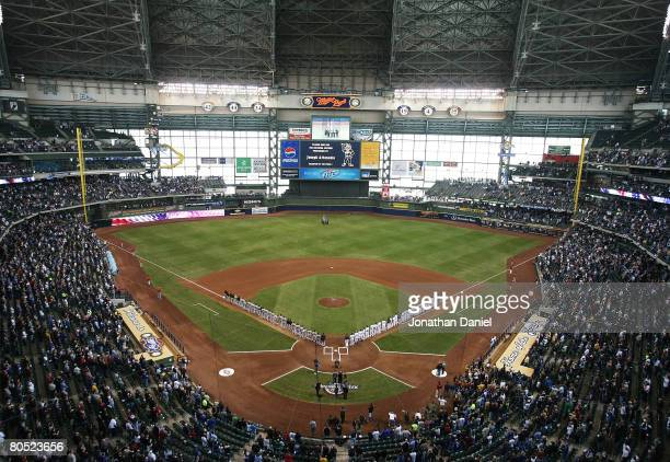 General view of Miller Park as the Milwaukee Brewers and the San Francisco Giants line-up for the National Anthem before the Opening Day game on...