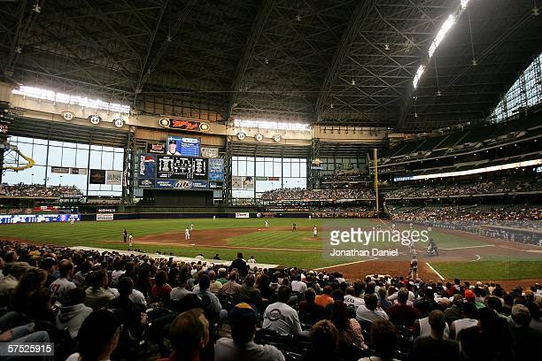 General view of Miller Park during a game between the Milwaukee Brewers and the San Francisco Giants on May 3, 2006 at Miller Park in Milwaukee,...