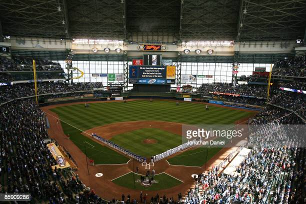 A general view of Miller Park during Opening Day ceremonies before a game between the Milwaukee Brewers and the Chicago Cubs on April 10 2009 in...
