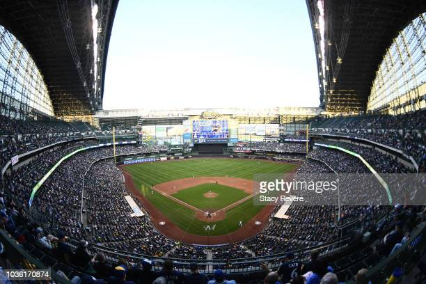 A general view of Miller Park during the game between the Milwaukee Brewers and the Pittsburgh Pirates at Miller Park on Saturday May 5 2018 in...