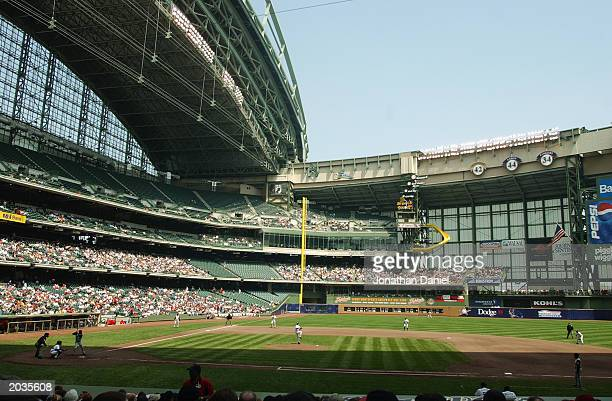A general view of Miller Park during the game between the Milwaukee Brewers and the Cincinnati Reds on May 17 2003 in Milwaukee Wisconsin The Brewers...