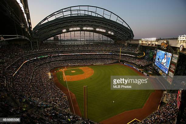 A general view of Miller Park during the game between the Milwaukee Brewers and the Arizona Diamondbacks on Saturday June 30 2012 in Milwaukee...
