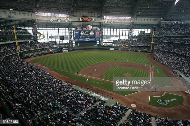 General view of Miller Park during the game between the Pittsburg Pirates and the Milwaukee Brewers on April 11, 2005 at in Milwaukee, Wisconsin. The...