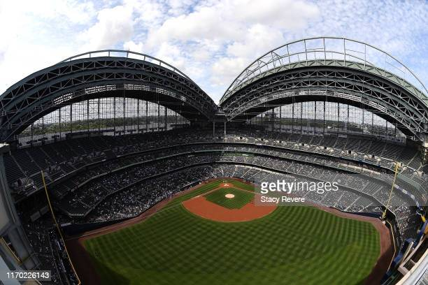 General view of Miller Park prior to a game between the Milwaukee Brewers and the Arizona Diamondbacks on August 25, 2019 in Milwaukee, Wisconsin....