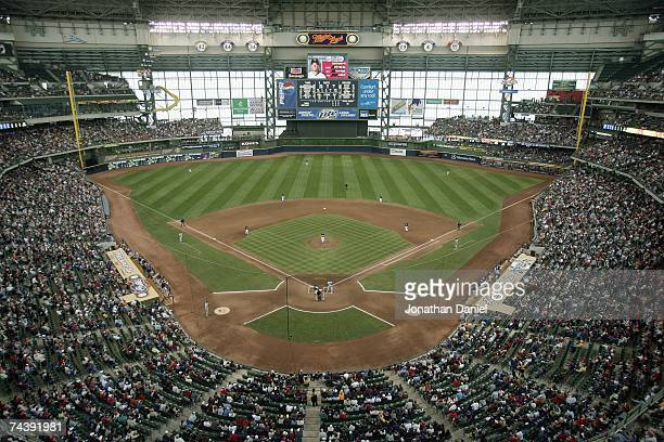 General view of Miller Park taken during the game between the Milwaukee Brewers and the Minnesota Twins on May 20, 2007 at Miller Park in Milwaukee,...