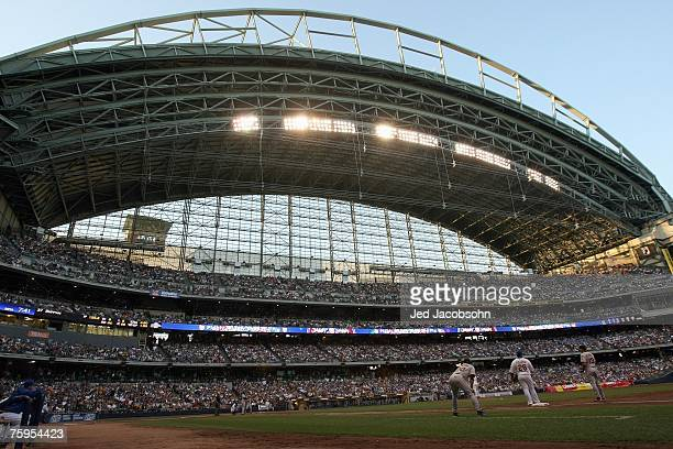 General view of Miller Park taken during the game between the Milwaukee Brewers and the San Francisco Giants during a Major League Baseball game at...