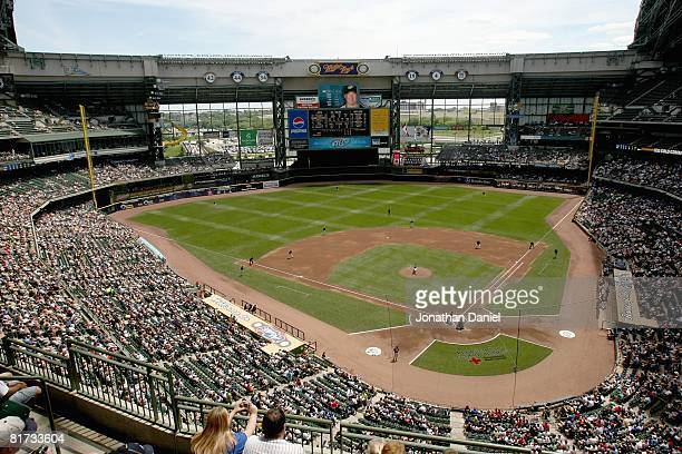 General view of Miller Park taken during the game between the Milwaukee Brewers and the Toronto Blue Jays on June 19, 2008 at Miller Park in...