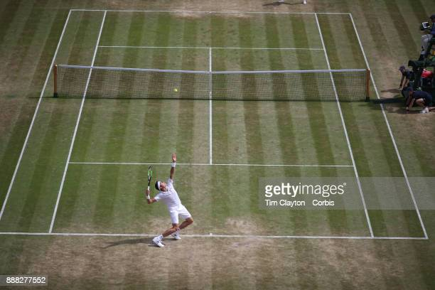A general view of Milos Raonic of Canada in action against Albert RamosVinolas of Spain on number one court during the Wimbledon Lawn Tennis...