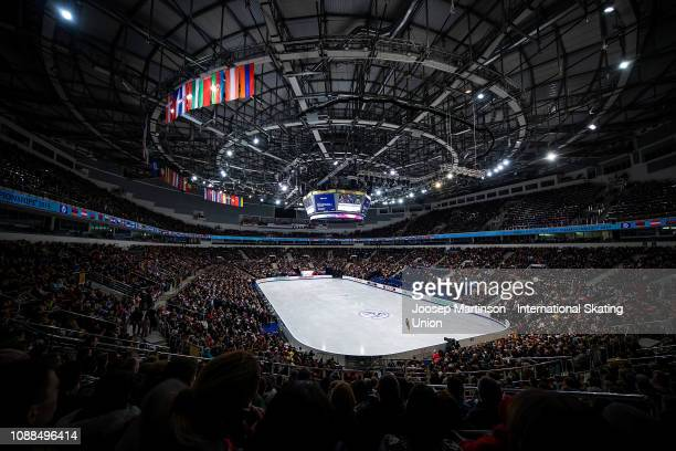 General view of Minsk Arena as Ivett Toth of Hungary competes in the Ladies Free Skating during day three of the ISU European Figure Skating...