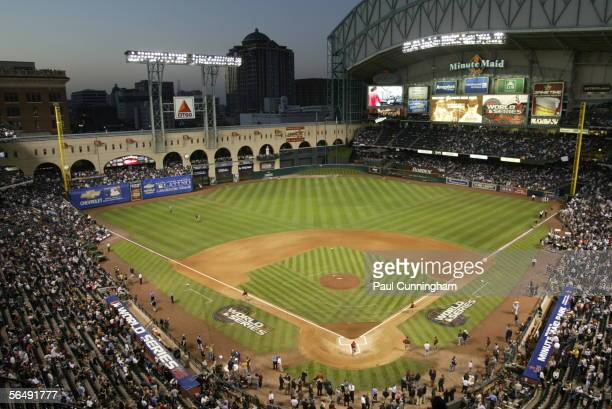 A general view of Minute Maid Park before Game Four of the Major League Baseball World Series between the Chicago White Sox and the Houston Astros on...