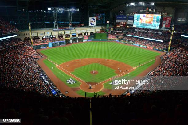 A general view of Minute Maid Park during Game 5 of the 2017 World Series between the Los Angeles Dodgers and the Houston Astros on Sunday October 29...