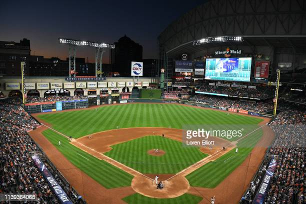 A general view of Minute Maid Park during the game between the Cleveland Indians and the Houston Astros on Thursday April 25 2019 in Houston Texas