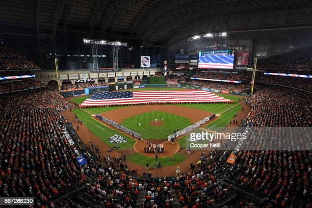 A general view of Minute Maid Park during the pregame ceremonies before Game 3 of the 2017 World Series between the Los Angeles Dodgers and the...