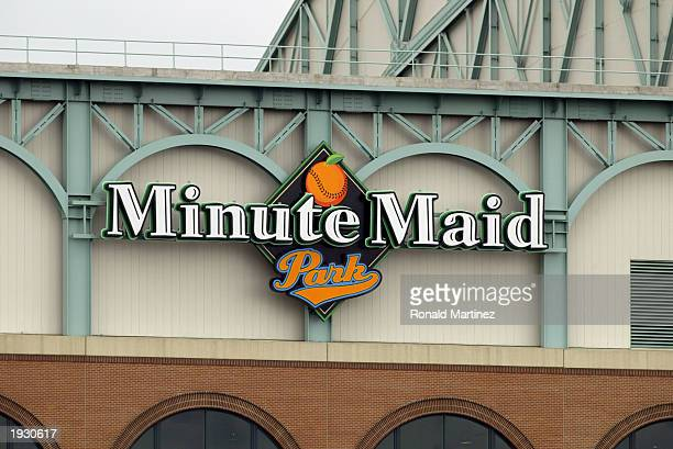 A general view of Minute Maid Park logo outside the walls of the stadium prior to the MLB game between the Houston Astros and Colorado Rockies at...
