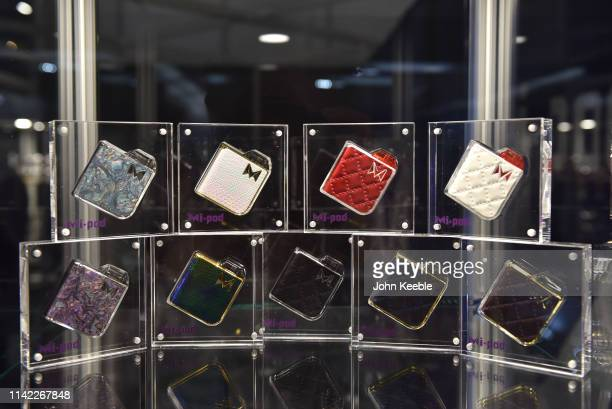 A general view of MiPod vapes on display during Vape Jam 2019 at ExCel on April 12 2019 in London England Vape Jam UK the premier Electronic...