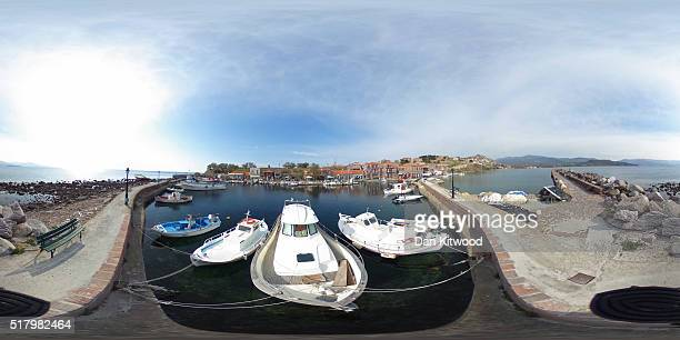 A general view of Mithymna port on March 29 2016 in Lesbos Greece Concerns over the economy on the island of Lesbos have grown as tourist numbers are...
