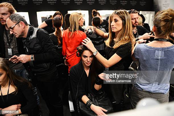 A general view of models backstage ahead of the Agne Kuzmickaite Igrida Zabere Kaetlin Kaljuvee Autumn/Winter 2013/14 fashion show during...