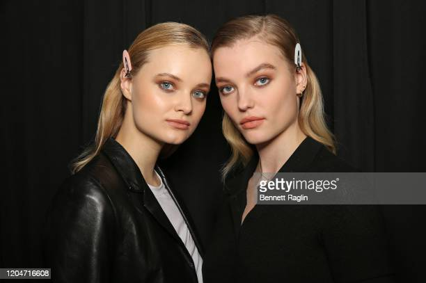 General view of models with final hair and makeup look backstage during the Pamella Roland fashion show February 2020 - New York Fashion Weekat Pier...